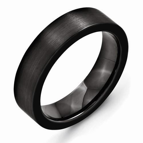 Black Ceramic Flat 6mm Brushed Band - AydinsJewelry