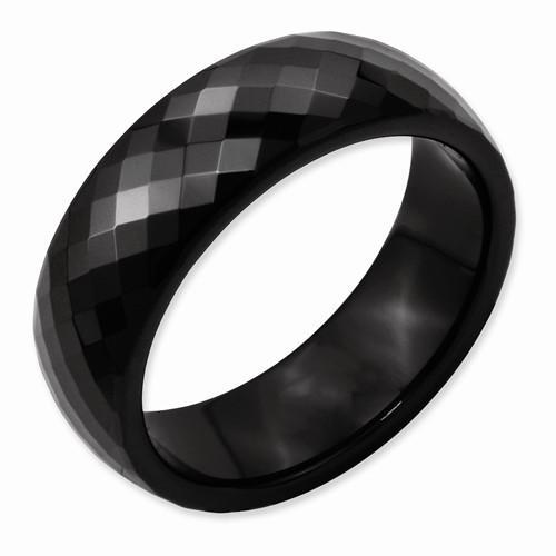 Black Ceramic Faceted 7.5mm Polished Band - AydinsJewelry