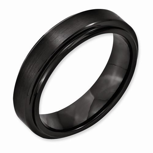 Black Ceramic Ridged Edge 6mm Brushed & Polished Band - AydinsJewelry