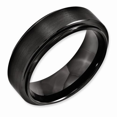 Black Ceramic Ridged Edge 8mm Brushed And Polished Band - AydinsJewelry
