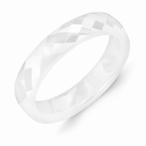 White Ceramic 4mm Faceted Polished Band - AydinsJewelry
