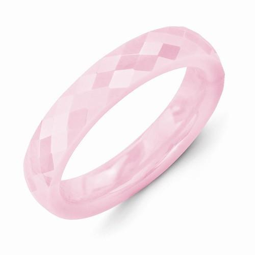 Pink Ceramic 4mm Faceted Polished Band - AydinsJewelry