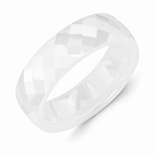 White Ceramic 6mm Faceted Polished Band - AydinsJewelry