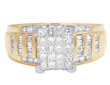 10K Yellow Gold 1 Carat Princess and Baguette Diamond Engagement ring 10mm