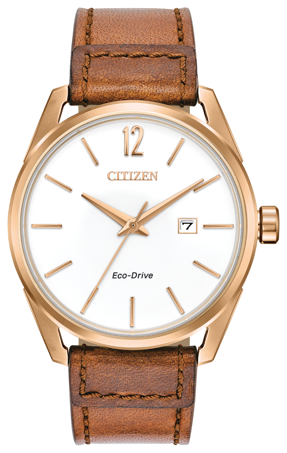 Citizen Stainless Steel Rose tone Leather strap BM7413-02A