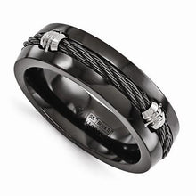 Edward Mirell Titanium Black Ti And Cable Ring - 7mm - AydinsJewelry