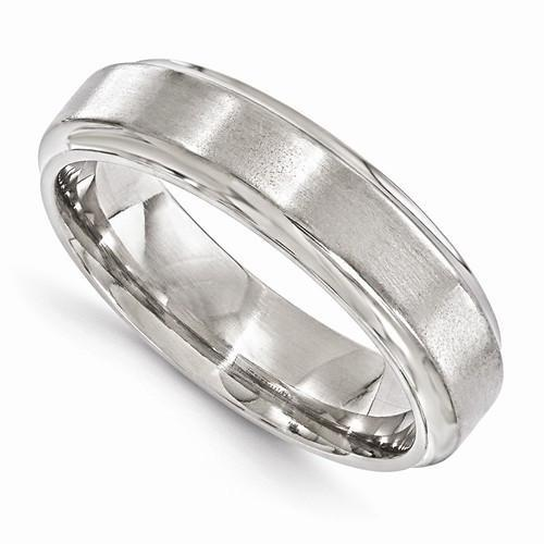 Edward Mirell Titanium Brushed & Polished Beveled - 6mm - AydinsJewelry