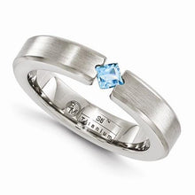 Edward Mirell Titanium Satin Finish w/ Blue Topaz - 4mm - AydinsJewelry