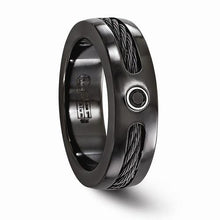 Edward Mirell Black Ti Cable & Black Spinel w/ Sterling Silver Bezel Ring - 7mm - AydinsJewelry