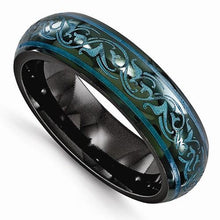 Edward Mirell Black Ti Domed Anodized Teal Ring - 6mm - AydinsJewelry