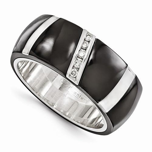 Edward Mirell BlackTi & Sterling Silver .10ctw Diamond Ring - 10mm - AydinsJewelry