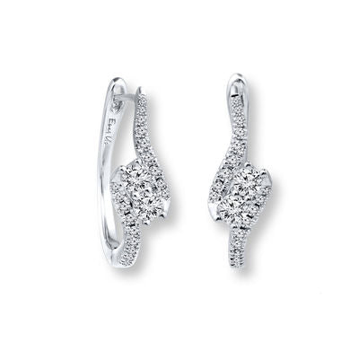 Ever Us™ 1/2 CT. T.W. Two-Stone Diamond Bypass Hoop Earrings in 14K White Gold