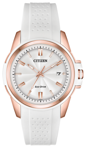Citizen Women's Eco-Drive Stainless White rubber on SS FE6136-01A