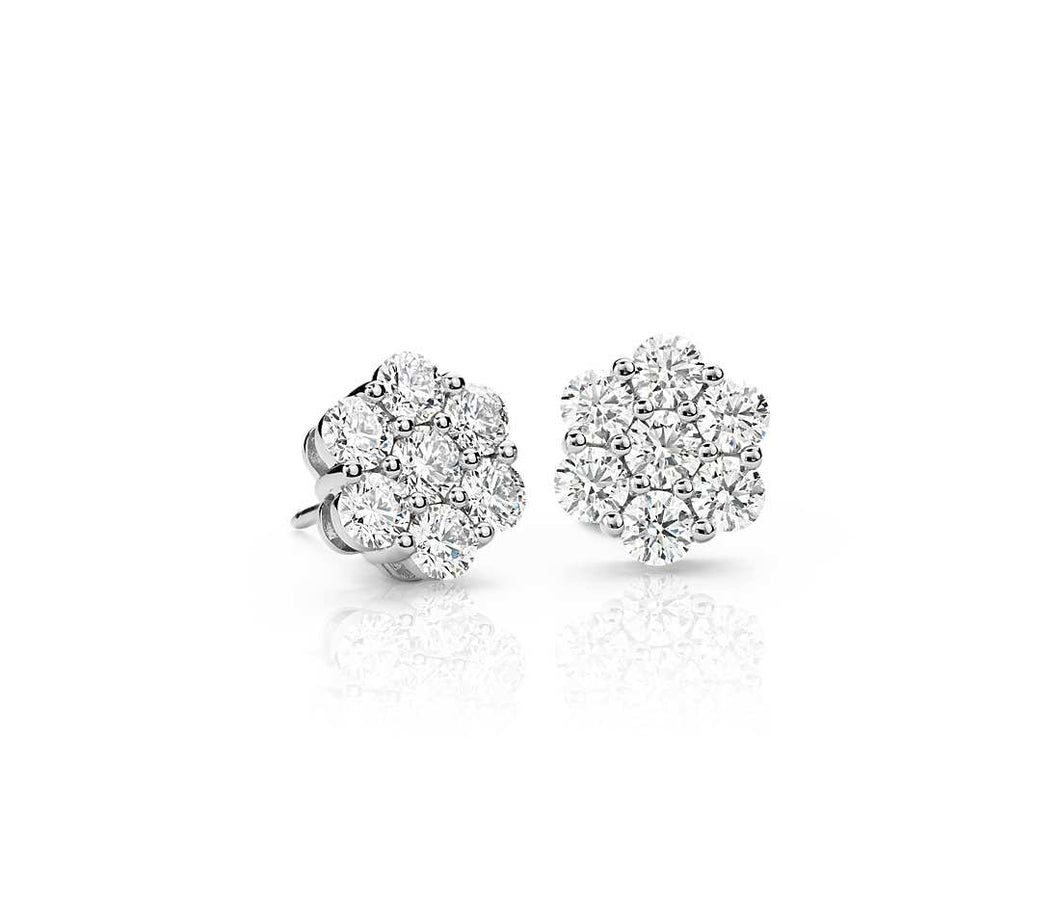 10k White Gold 1 Carat Flower Diamond Earrings