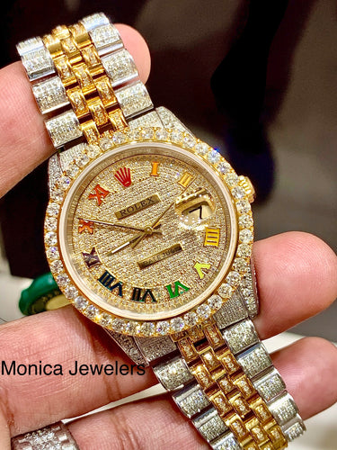 16233 Yellow gold/ Stainless steel Jubilee with Iced out Rainbow Roman Numeral Diamond dial