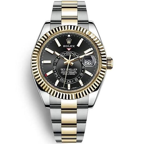 Rolex Sky-Dweller 42mm Bright Black Dial Two Tone Oyster 18k/SS Bracelet Men's Watch 326933