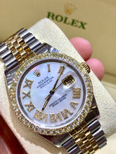 16013 18k/Stainless steel Jubilee with White mother of pearl Roman Numeral Diamond dial 3ctw