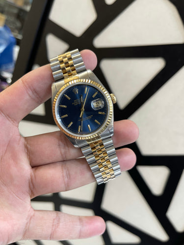 Rolex Datejust 18k Stainless Steel 16233 Blue dial Jubilee band
