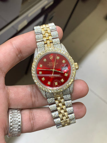 16013 Yellow gold/ Stainless steel Jubilee with Red Diamond dial 15carats