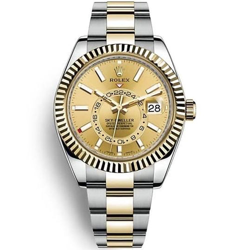 Rolex Sky-Dweller 42mm Bright Champagne Dial Two Tone Oyster 18k/SS Bracelet Men's Watch 326933