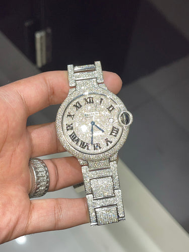 Stainless Steel Cartier 42mm Ballon Bleu De Automatic Watch Fully Iced out