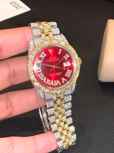 1601 Yellow gold/ Stainless steel Jubilee with Red Roman Numeral Diamond dial 14 carats