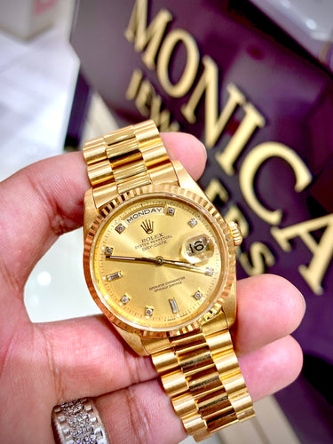 Rolex President Day Date 18238 18k Yellow Gold Gold Diamond Dial