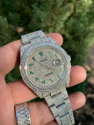 Rolex 126300 41mm Datejust  Honeycomb setting 24 carats Arabic Iced out dial