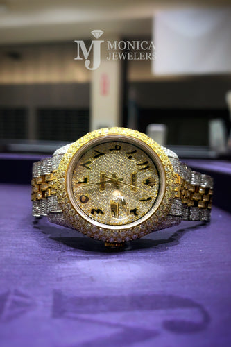 Rolex Datejust iced out Yellow gold/ Stainless steel Jubilee with Iced out Arabic Numeral Diamond dial