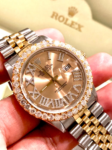 16013 18k/Stainless steel Jubilee with Gold Roman Numeral Diamond dial 3ctw