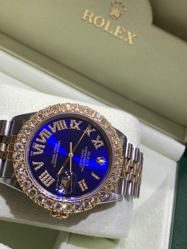 16013 18k/Stainless steel Jubilee with Blue Roman Numeral Diamond dial 3.50ctw