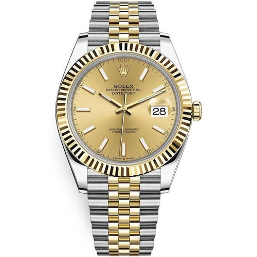 Rolex Datejust 18k/SS 41mm Champagne Stick Dial Jubilee Bracelet Men's Watch 126333