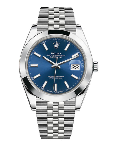 Rolex Datejust 41 Blue Stick Dial Jubilee Bracelet Men's Watch 126300