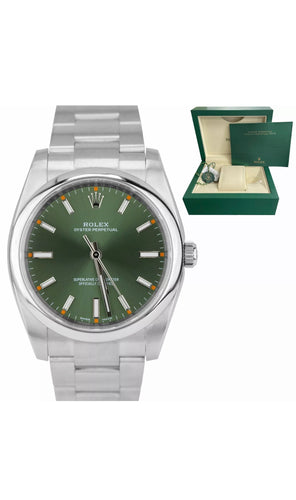 Rolex 114200 Stainless Steel 34mm Silver Olive Green with smooth bezel