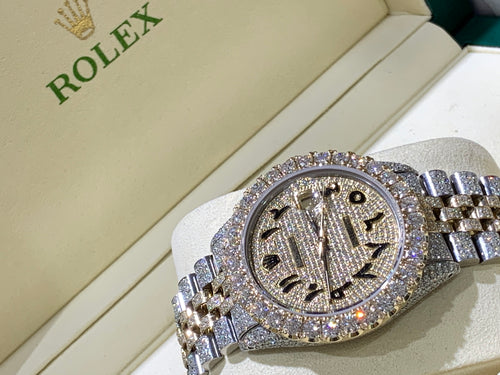 Rolex Datejust Yellow gold/ Stainless steel Jubilee with Iced out Arabic Numeral Diamond dial 18 carats