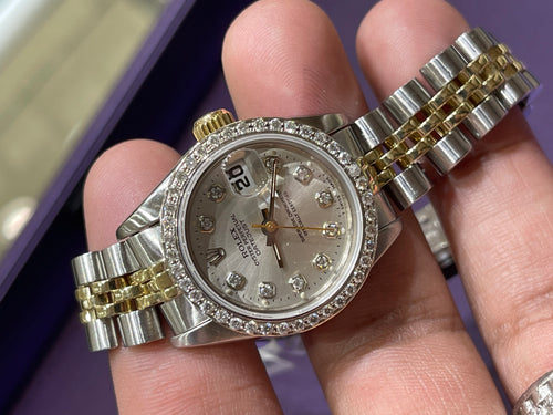 Rolex Datejust Ladies 26mm Jubilee Silver diamond dial with Diamond bezel