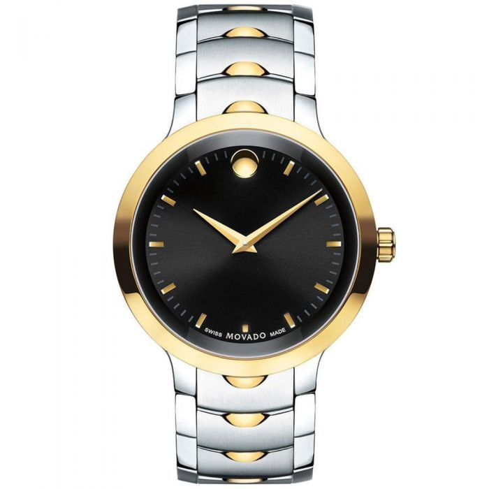 Movado Men's Two-Tone Luno Black Dial Stainless Steel Watch 0607043