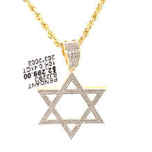 10k Yellow Gold and diamond Star of David Pendant with chain