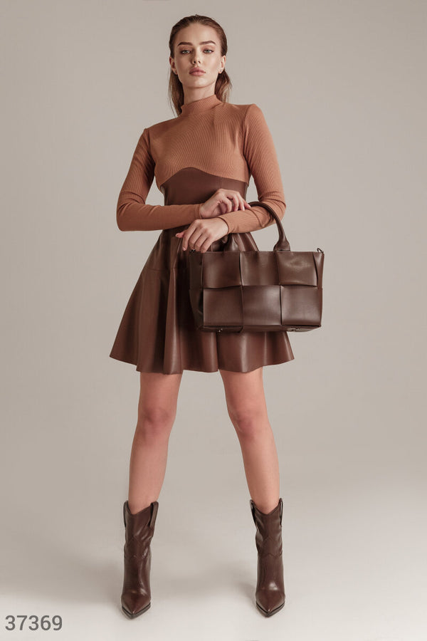 Combined Dress with Leather Skirt