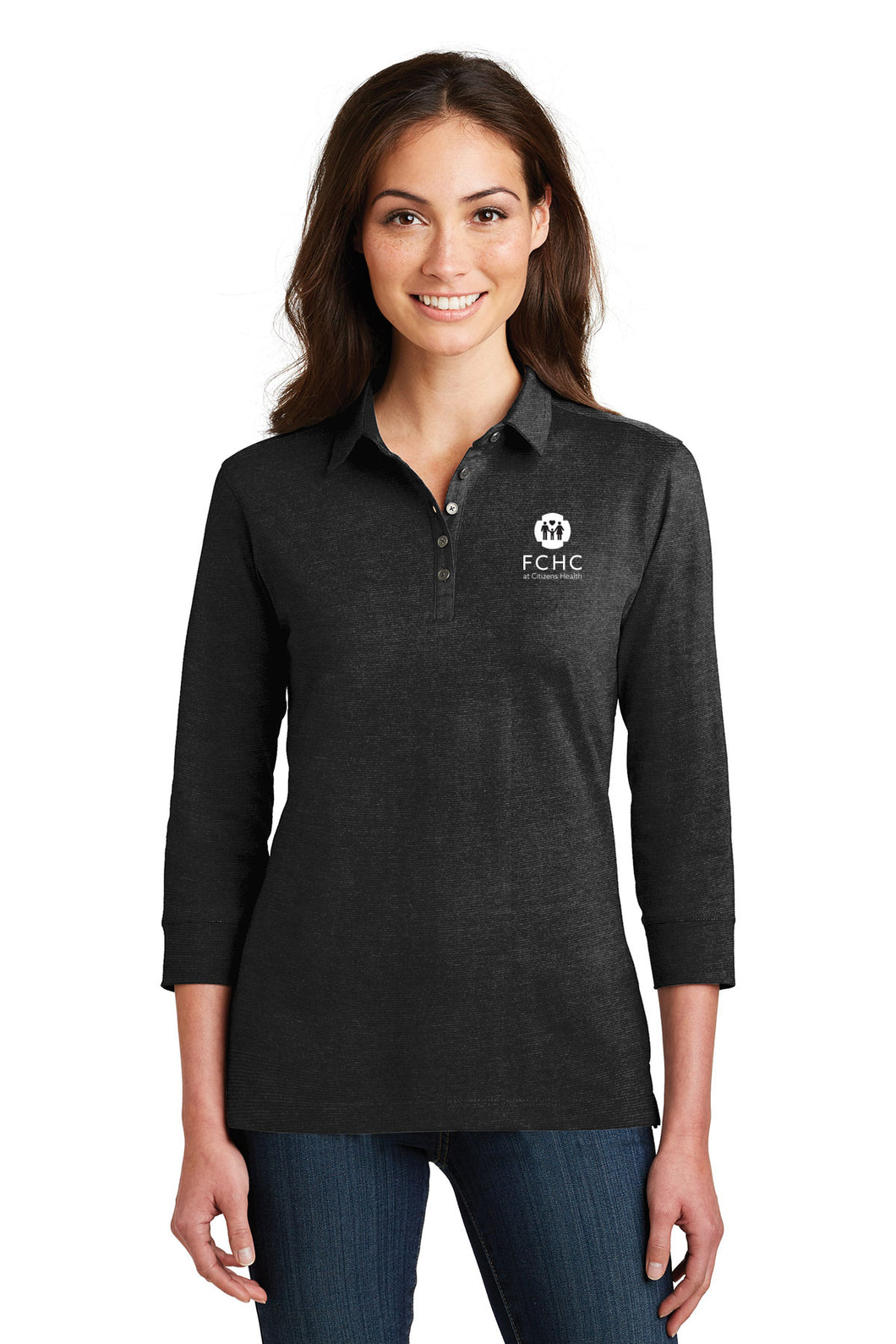 Port Authority® Ladies 3/4-Sleeve Meridian Cotton Blend Polo - FCHC