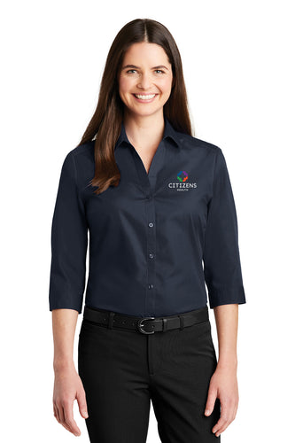 Port Authority® Ladies 3/4-Sleeve Carefree Poplin Shirt - CH