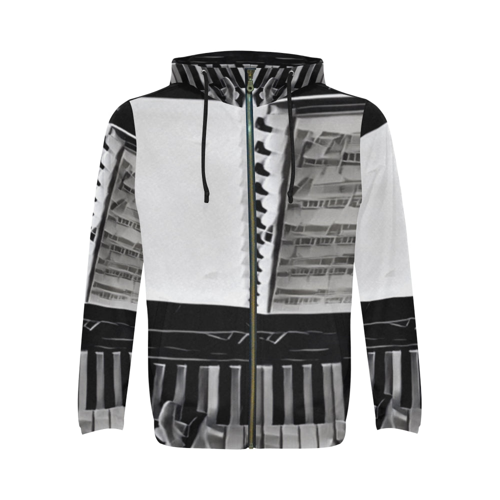 Hands On All Over Print Full Zip Hoodie for Men