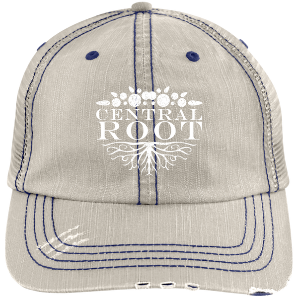 Central Root Distressed Unstructured Trucker Cap