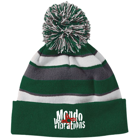 Mondo Vibrations Logo Striped Beanie with Pom