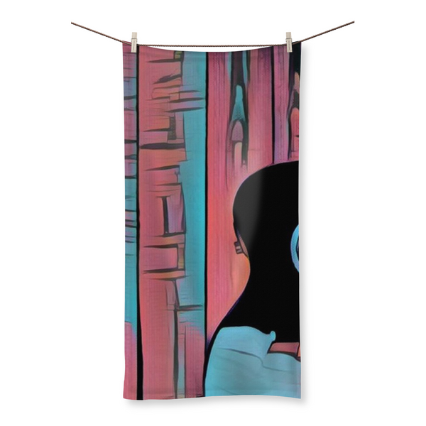 Wood Grain Blue Beach Towel