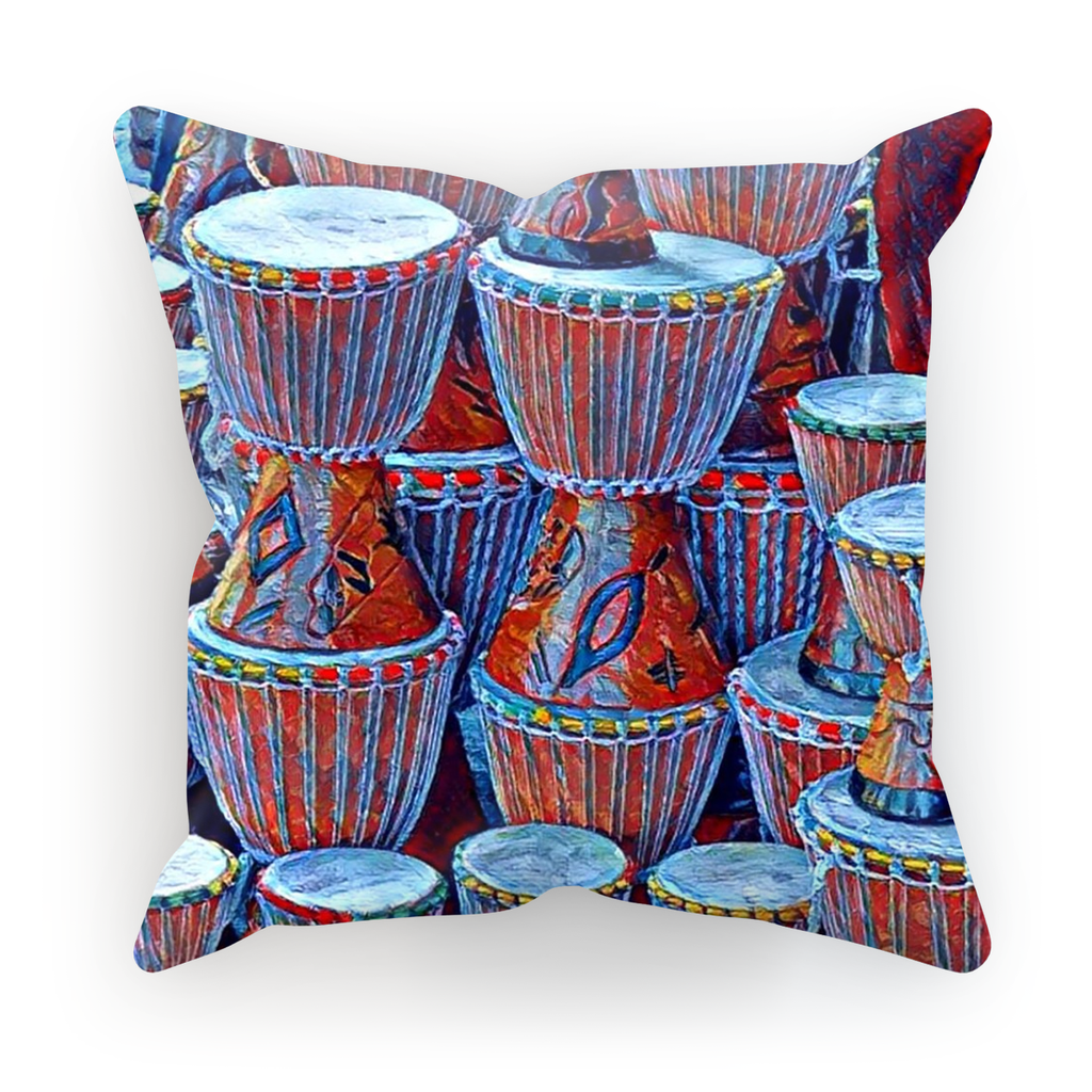 Talking Drums Blue Cushion Cover