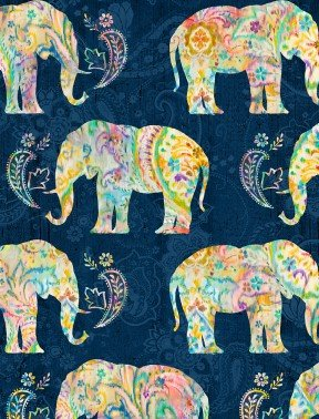 Wilmington Prints Bohemian Dreams Navy Elephants