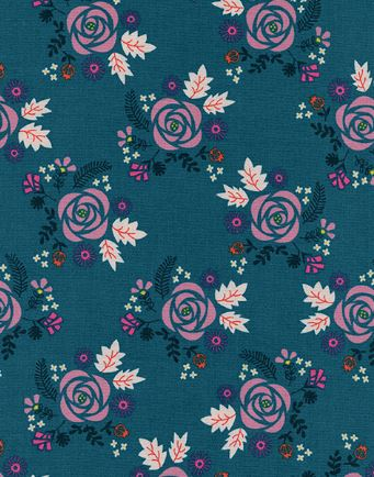 Cotton + Steel Akoma Wildflower Teal