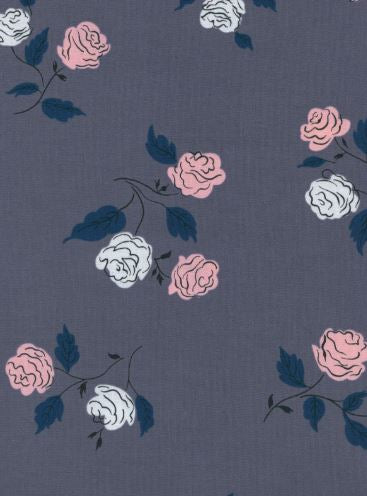 By the yard- Cotton + Steel Steno Pool Roses Shadow