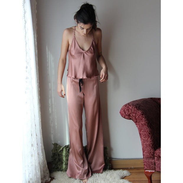 Two Piece Silk Pajama Set - Camisole and Pants